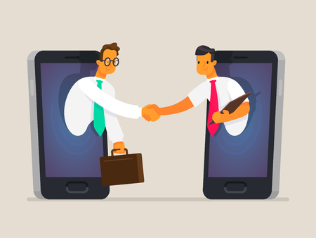 Illustration pour Business people shake hands through the phone screen. The concept of business communications, the sale of goods and services online, cooperation. Vector illustration in a flat style - image libre de droit
