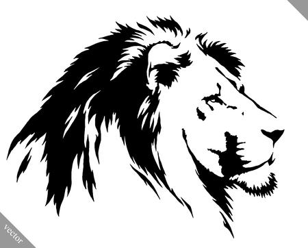 Illustration pour black and white linear draw lion vector illustration - image libre de droit