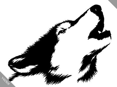 Illustrazione per black and white linear paint draw wolf illustration - Immagini Royalty Free