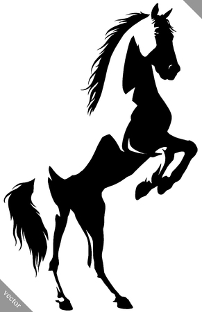 Illustration for black and white linear draw horse illustration - Royalty Free Image