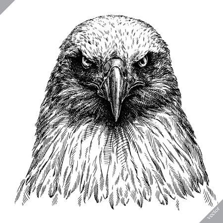Ilustración de Black and white engrave, isolated eagle vector art illustration. - Imagen libre de derechos
