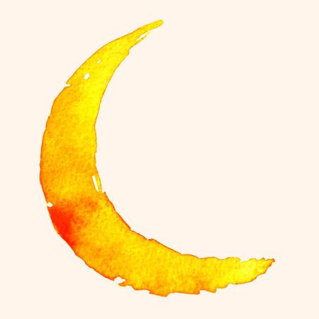 Ilustración de Crescent moon of painting with watercolor on paper - Imagen libre de derechos