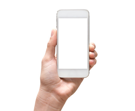 Foto de Female hand holding mobile smart phone touch screen on white background - Imagen libre de derechos