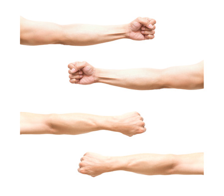 Photo for sum 4 pic of Arm in fist action on white background - Royalty Free Image