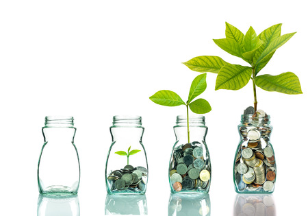 Foto de Mix coins and seed in clear bottle on white background,Business investment growth concept - Imagen libre de derechos