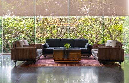 Foto de Lobby area of a hotel, office. Interior design concept - Imagen libre de derechos