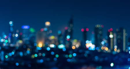 Photo pour Cityscape bokeh, Blurred Photo, cityscape at twilight time - image libre de droit