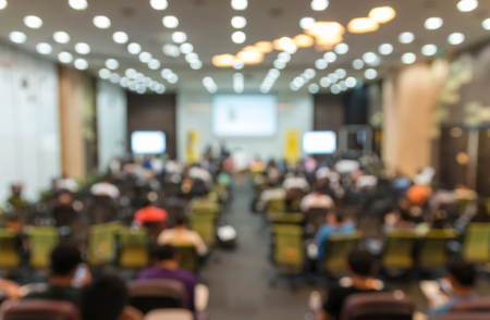 Photo for Abstract blurred photo of conference hall or seminar room with attendee background - Royalty Free Image
