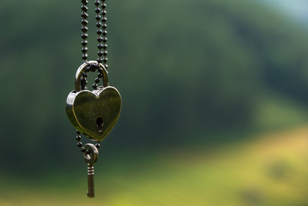 Foto de heart shape Lock and key on green background - Imagen libre de derechos