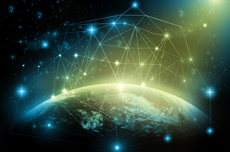 Photo pour Part of earth with network line and point on the star and dark background, Internet Network concept, Elements of this image furnished by NASA - image libre de droit