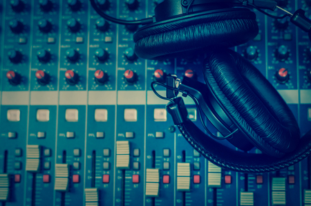 Photo for Top view of Earphone on mixer, music instrument concept - Royalty Free Image