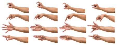 Photo pour Various gesture of Men hand over white background, include clipping path - image libre de droit