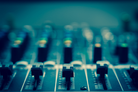 Photo for Closeup some part of audio mixer, vintage film style, music equipment concept - Royalty Free Image
