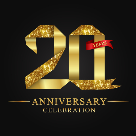 Illustration for anniversary, aniversary, 20 years anniversary celebration logotype. Logo,ribbon golden number on black background.Numbers ribbon gold foil. - Royalty Free Image