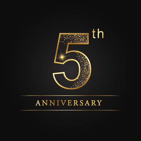 Illustration pour 5 years anniversary celebration logotype. 5th anniversary logo - image libre de droit