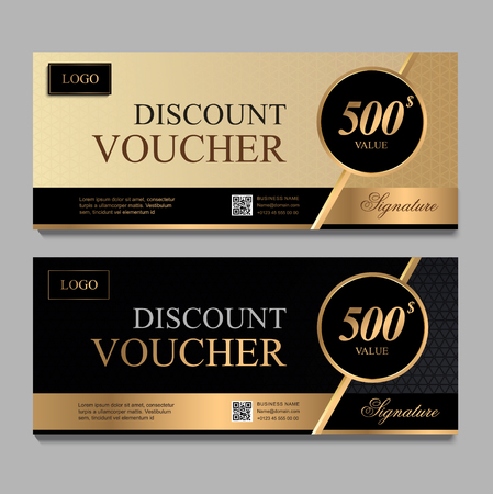 Illustration pour Discount voucher template with gold and black certificate. Background design coupon, invitation, currency. Set of stylish discount voucher gold and black. gift card, coupon. - image libre de droit