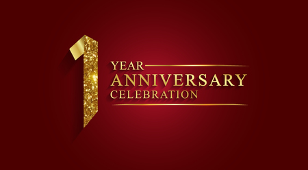 Illustration pour 1 year anniversary celebration logotype. Logo,ribbon golden number on red background.Numbers ribbon gold foil. - image libre de droit