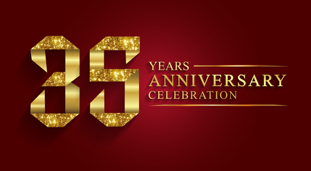 Illustration for 35 years  anniversary celebration greeting. Ribbon golden number on red background.Numbers ribbon gold foil. - Royalty Free Image