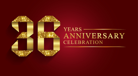 Illustration for 36 years anniversary celebration greeting. Ribbon golden number on red background.Numbers ribbon gold foil. - Royalty Free Image