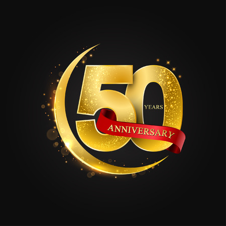 Illustration for Eid al Adha 50 years anniversary.Pattern with arabic golden, gold half moon and glitter.Vector illustration of greeting cards, covers, prints. - Royalty Free Image