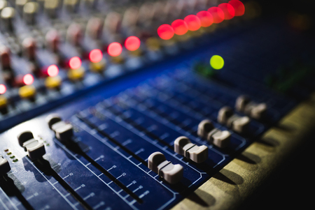 Photo for Close up footage of audio mixer. Sound control panel at concert - Royalty Free Image