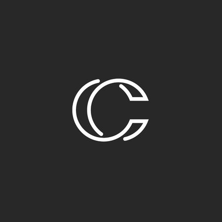 Illustration pour Logo C monogram modern letter, mockup elegant business card, overlapping symbol - image libre de droit