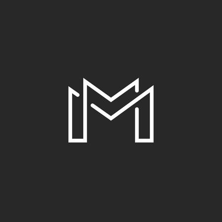 Illustration for Letter M logo or two modern monogram symbol, mockup black and white business card - Royalty Free Image