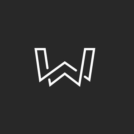 Illustration pour W letter logo monogram, modern mockup black and white hipster  emblem - image libre de droit