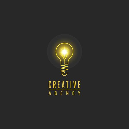 Ilustración de Light bulb logo, lamp shine creative innovation sign, web development, advertising, design agency emblem, idea power technology mark - Imagen libre de derechos