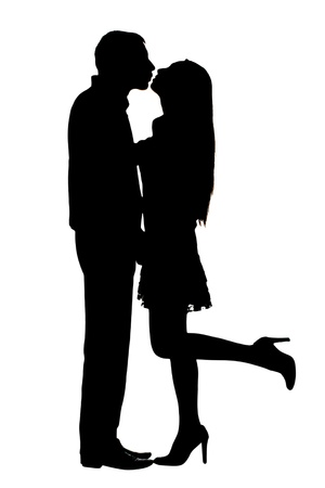 Photo for silhouettes of stuck on couple under the white background - Royalty Free Image
