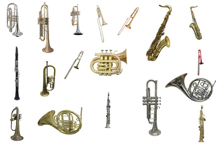 Photo for The image of wind instruments isolated under a white background - Royalty Free Image