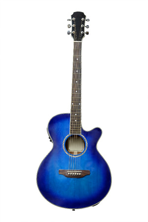 Photo for The image of blue acoustic guitar isolated under the white background - Royalty Free Image