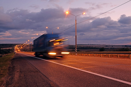 Photo for Truck on a highway in the night - Royalty Free Image
