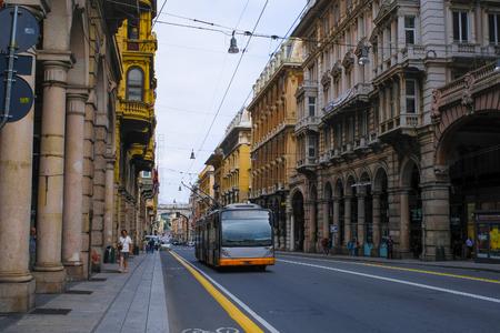 Photo pour Genoa, Italy - June, 12, 2018: Trolleybus in Genoa, Italy - image libre de droit