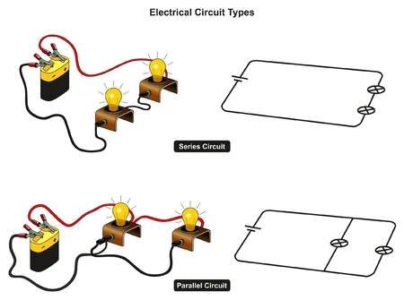 Illustration for Electrical Circuit Types infographic diagram showing how you connect lamps in series and in parallel and difference for physics science education - Royalty Free Image