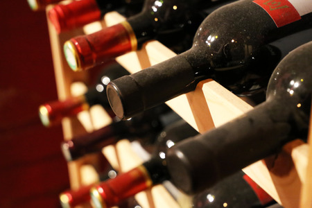 Photo for Wine cellar with bottles of red wine - Royalty Free Image
