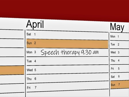 Photo for Calendar with handwritten memo for speech therapy - Royalty Free Image