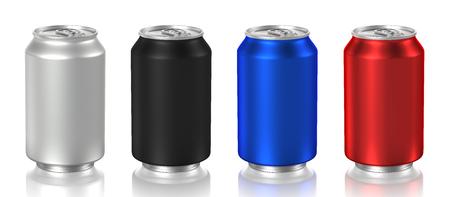 Foto de aluminum cans isolated on white background, 3D rendering - Imagen libre de derechos