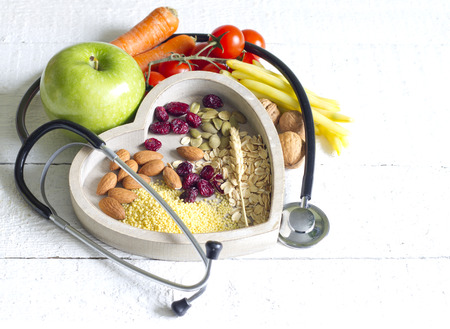 Photo pour Healthy food in heart diet abstract concept - image libre de droit