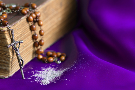 Photo for Ash Wednesday religion concept on violet fabric background with rosary - Royalty Free Image