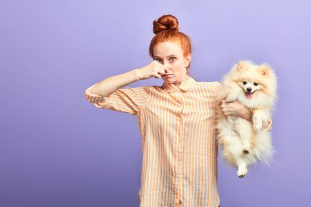 Photo pour funny girl with stylish striped shirt closing her nose, as the dog is farting. close up portrait. unpredictable situation, isolated blue background, studio shot. - image libre de droit