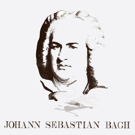 Illustration pour German composer Johann Sebastian Bach. vector portrait - image libre de droit