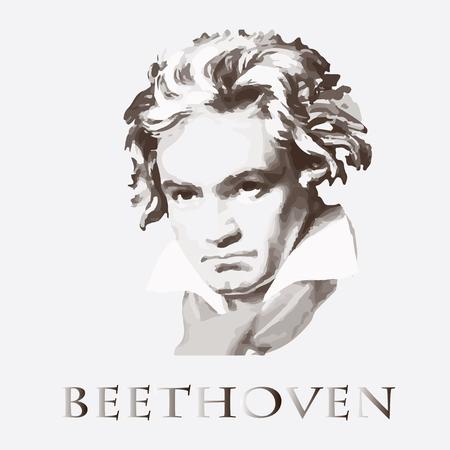 Illustration pour portrait of the composer and musician Ludwig van Beethoven - image libre de droit