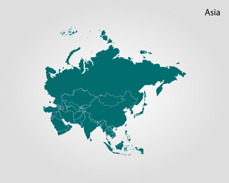 Illustration for Map of Asia. Vector illustration - Royalty Free Image