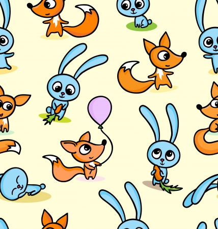 A vector illustration of happy little foxes and bunnies on seamless pattern background