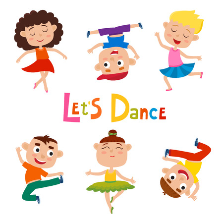 Illustrazione per Vector cartoon illustration of little graceful dancer - Immagini Royalty Free