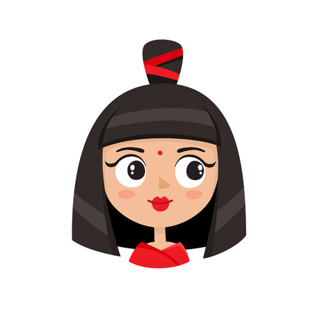 Illustration pour Cool female avatar. Portrait of glamorous woman with avant-garde hairstyle in cartoon style. - image libre de droit
