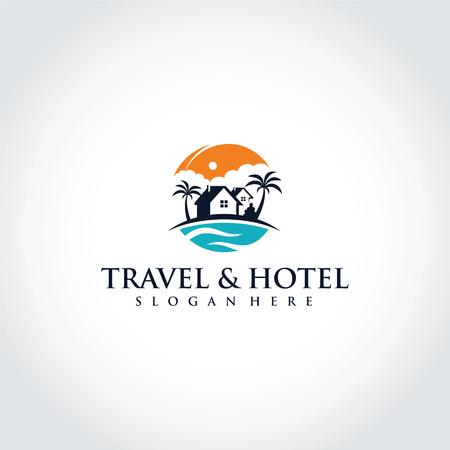 Ilustración de Travel and Hotel Logo Template Design. Vector Illustrator Eps. 10 - Imagen libre de derechos
