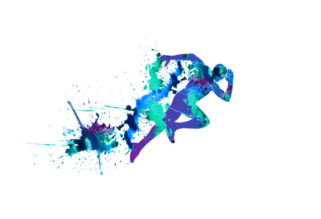 Illustration pour Vector illustration: sprinter. Running man. Spray watercolor paint on a white background - image libre de droit