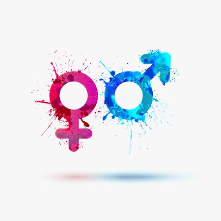Illustration pour Male and female watercolor symbols - image libre de droit